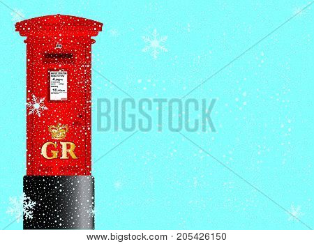 A cold winter snowflake background with falling snow and a red British post box