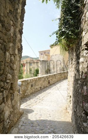 Stone footpath in Besalu a town of Girona Catalonia Spain.