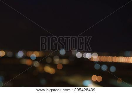 bokeh blur of city lights from high spot, real lens blur
