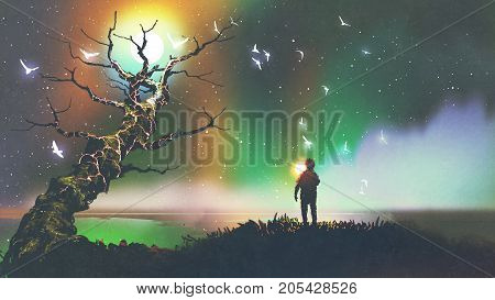 night scenery of the boy with the light ball looking at fantasy tree, digital art style, illustration painting