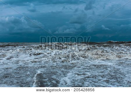 photo during a storm on the sea