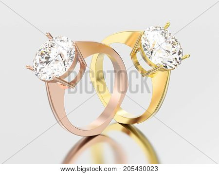 3D illustration two yellow and rose gold engagement euro style ring with diamond with reflection and shadow on a grey background