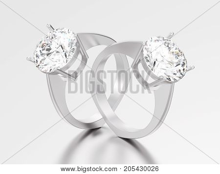 3D illustration two white gold or silver engagement euro style ring with diamond with reflection and shadow on a grey background