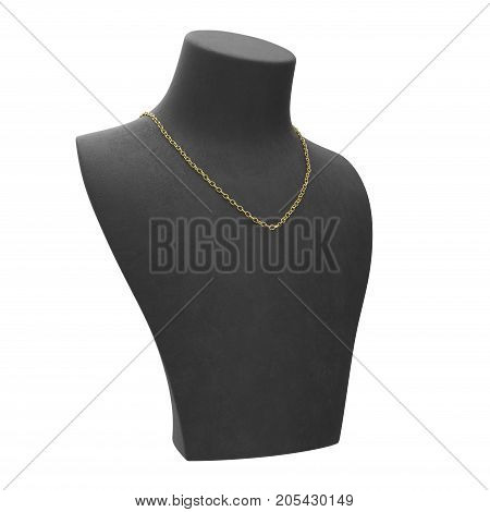 3D illustration isolated yellow gold chain necklace on a black mannequin on a white background
