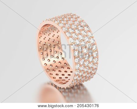 3D illustration rose gold engagement pave setting with five tiers of round stones ring with diamonds with reflection and shadow on a grey background