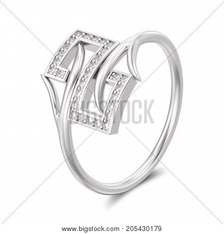 3D illustration white gold or silver engagement decorative diamond ring with shadow on a white background