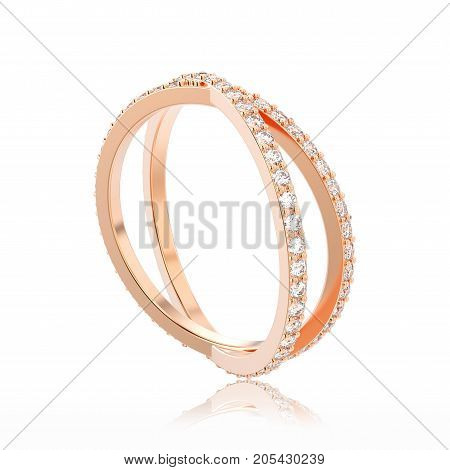 3D illustration isolated rose gold two shanks diamond ring with reflection on a white background