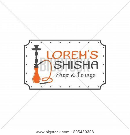 Hookah relax label, badge. Vintage shisha logo. Lounge cafe emblem. Arabian bar or house, shop. Isolated. Stock vector illustration.