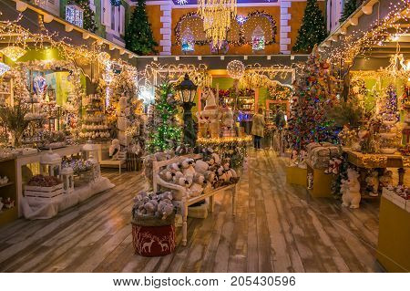 VETRALLA, ITALY - SEPTEMBER 23, 2017: The indoor of christmas shop, the reign of santa claus.
