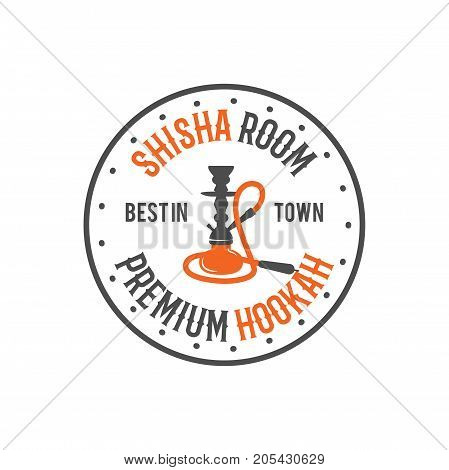 Hookah relax label, badge. Vintage shisha room logo. Lounge cafe emblem. Arabian bar or house, shop. Isolated. Stock vector illustration.