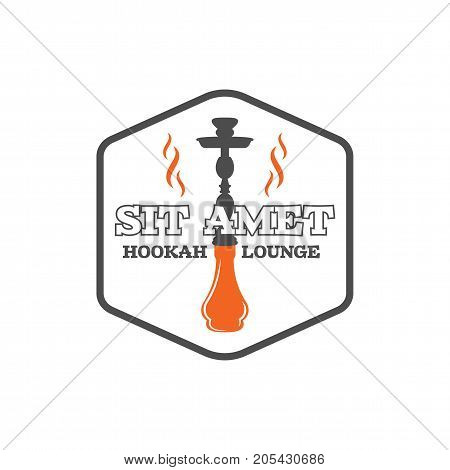 Hookah badge. Vintage shisha logo. Lounge cafe emblem. Arabian bar or house, shop. Isolated on white background. Stock vector illustration.