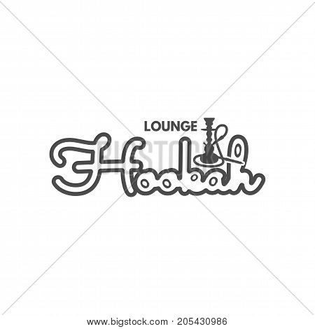 Hookah lounge logo, badge. Vintage shisha logo.Cafe emblem. Arabian bar or house, shop. Isolated on white background. Stock vector illustration. Monochrome design.