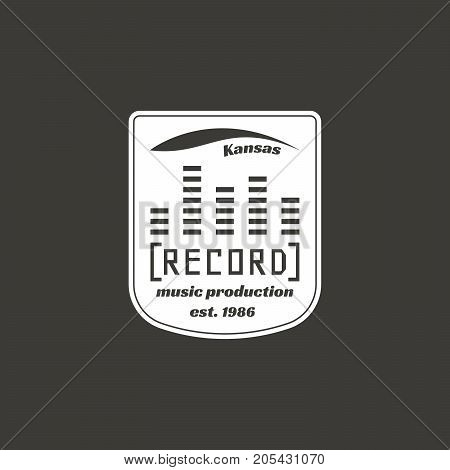 Recording studio vector label, badge, emblem logo with musical instrument. Stock vector illustration isolated on dark background.