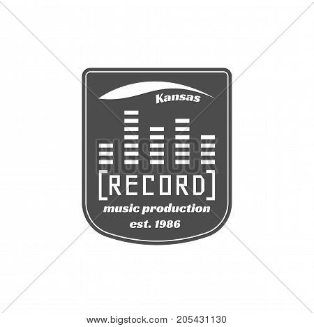Recording studio vector label, badge, emblem logo with musical instrument. Stock vector illustration isolated on white background.