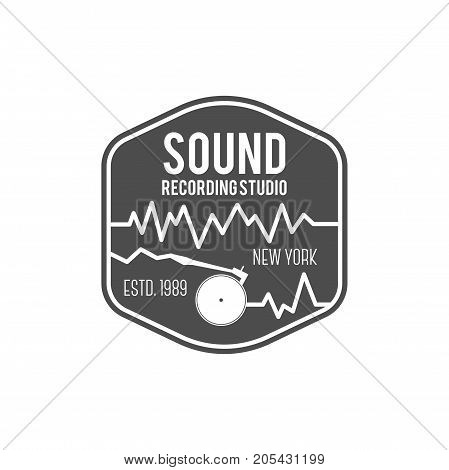 Sound, recording studio vector label, badge, emblem logo with musical instrument. Stock vector illustration isolated on white background.