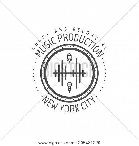 Music production. New york city vector label, badge, emblem logo with musical instrument. Stock vector illustration isolated on white background.