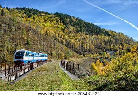 Autumn on the Circum-Baikal Road to the south of Lake Baikal with train