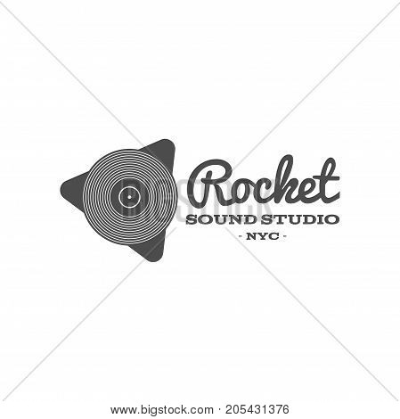 Rocket, sound studio vector label, badge, emblem logo with musical instrument. Stock vector illustration isolated on white background.