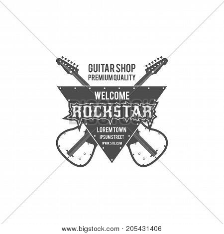 Rock star guitar shop vector label, badge, emblem logo with musical instrument. Stock vector illustration isolated on white background.