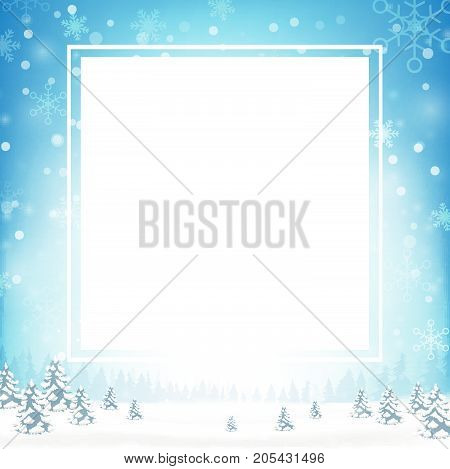Blank rectangle frame with copy space and winter snow flake falling into snow floor and lighting over blue abstract background for winter celebration and christmas promotion template vector illustrationate vector illustration