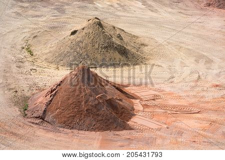 Stockyard of quarries sands pebbles and aggregates near Le Havre France