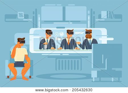 The use of a virtual reality device in everyday life. The work of the future, using virtual reality glasses, can be done in a virtual office
