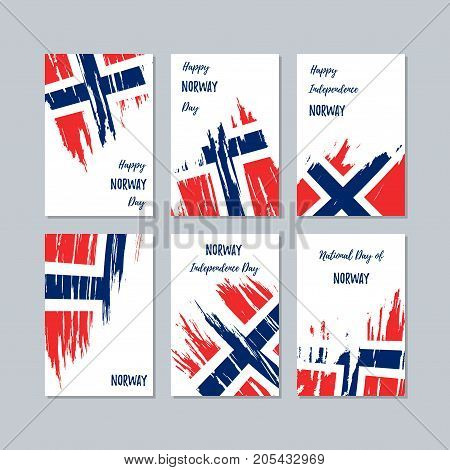 Norway Patriotic Cards For National Day. Expressive Brush Stroke In National Flag Colors On White Ca