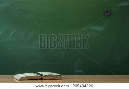 Teacher student or engineer desk table. Education background. Education concept. Open book on the table.