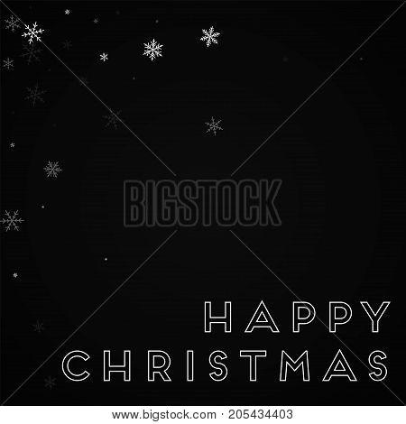Happy Christmas Greeting Card. Sparse Snowfall Background. Sparse Snowfall On Red Background. Deligh