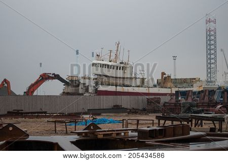 Old Trawler Being Scrapped In Esbjerg Port In Denmark