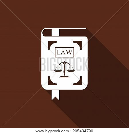 Law book statute book with scales of justice icon isolated with long shadow. Flat design. Vector Illustration