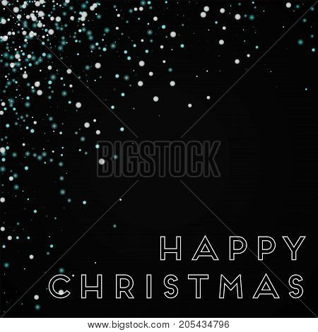 Happy Christmas Greeting Card. Amazing Falling Snow Background. Amazing Falling Snow On Wine Red Bac