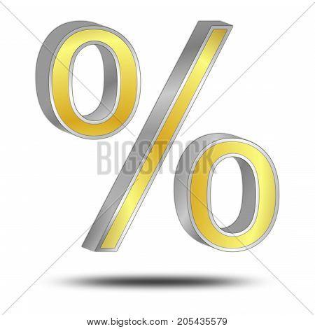 silver gold Discount Symbol - 3D illustration