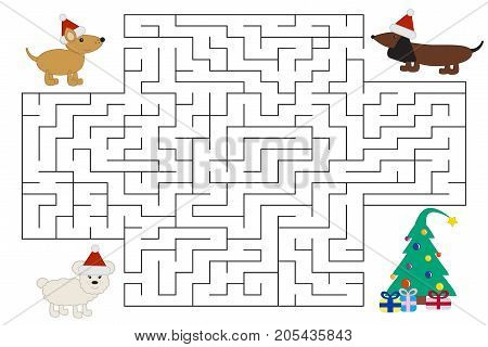 Funny cartoon dogs in Christmas maze are looking for gifts. Labyrinth for preschool and school kids. Vector illustration.