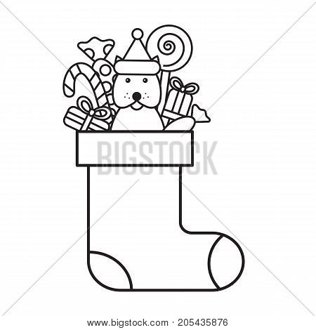 Christmas coloring page for kids, sock with gifts, lollipops and candies. Dog of New Year symbol. Isolated on white background. Vector illustration.