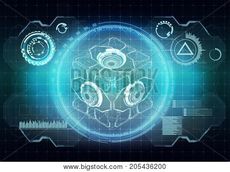 Futuristic user interface. Abstract virtual graphic touch user interface for VR. UI hud infographic interface screen monitor set elements for motion design
