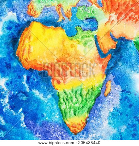 Map. Aquarelle drawing of Africa relief map. View to Earth from space