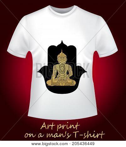 White shirt with a Buddha and a mandala. Buddhism, meditation relaxation - print protective talisman. Thematic, stylish T-shirt
