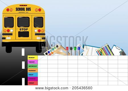 Weekly schedule for school with education equipment and school bus.