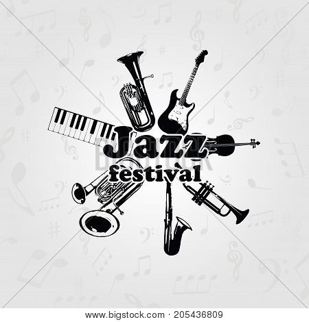Music poster for jazz festival with music instruments. Black and white euphonium, piano keyboard, double bell euphonium, saxophone, trumpet, violoncello and guitar vector illustration design