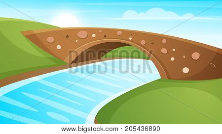 Cartoon landscape illustration. Sun. cloud, mountain hill vector EPS 10
