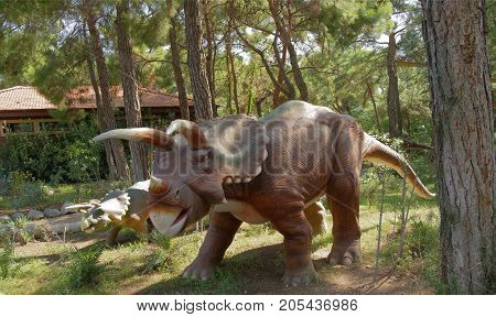 Kemer;Turkey- September 06; 2017: Triceratops Family -Late Cretaceous /76-65 million years ago. In the Dinopark