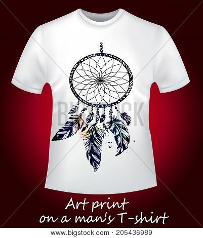 Beautiful T-shirt dream catcher - stylish print on a white T-shirt.  A collection of stylish T-shirts is the trend of the season. White T-shirt - close-up