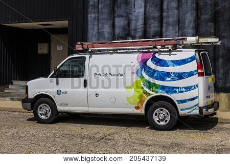 Indianapolis - Circa September 2017: AT&T Service vehicle. AT&T now offers IPTV VoIP Cell Phones and DirecTV II