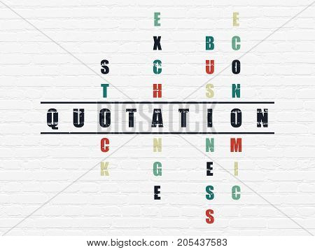 Currency concept: Painted black word Quotation in solving Crossword Puzzle