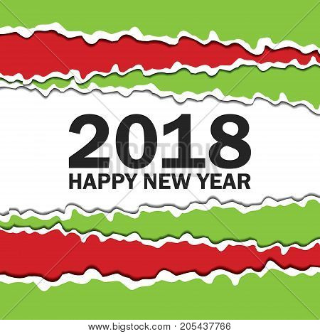 Vector creeting Happy New 2018 Year card. Paper cut effect. Modern ripped background. Christmas banner. Torn paper tape for various purposes. Green red white black color
