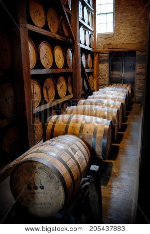 Aging Bourbon in Barrels at a Kentucky Distillery