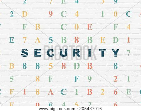 Privacy concept: Painted blue text Security on White Brick wall background with Hexadecimal Code