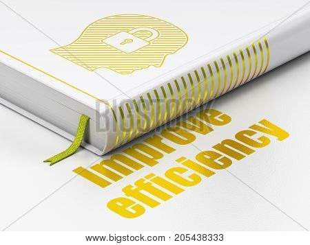 Business concept: closed book with Gold Head With Padlock icon and text Improve Efficiency on floor, white background, 3D rendering