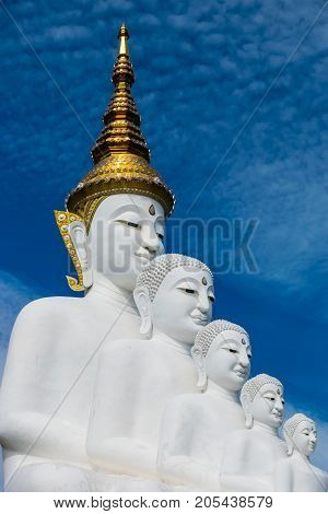 Five Buddhas at Wat phasornkaew Temple Khao kho in Phetchabun province Thailand